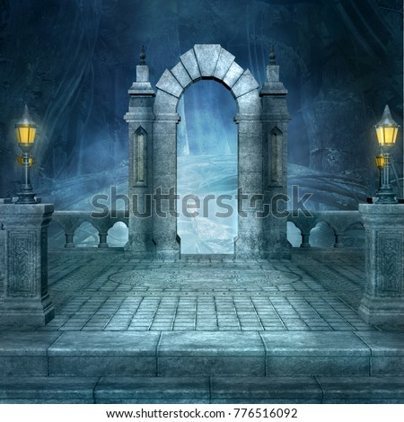 Fantasy background with arc by night - 3D illustration