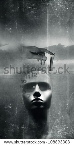 Fantasy background with dummy head in black and white
