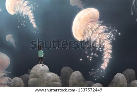 Fantasy boy looking giant jellyfishes in nature landscape, imagination surreal painting illustration, art
