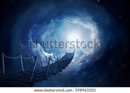 Stock Photo Fantasy bridge in the space. 3D rendering