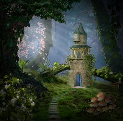 Fantasy castle in the forest. Photomanipulation. 3D rendering