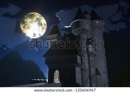 Fantasy Castle under Full Moon in the Mountains 3D render - stock photo