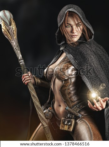 Stock Photo Fantasy cloaked wizard female posing with staff using magic. 3d rendering