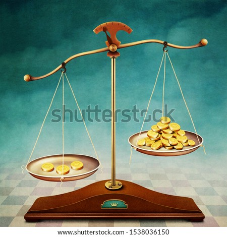 Fantasy conceptual illustration or poster with vintage scales and gold coins