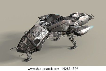 Fantasy 3D model of futuristic battleship pod for sci-fi or gaming backgrounds, with clipping path included in the file