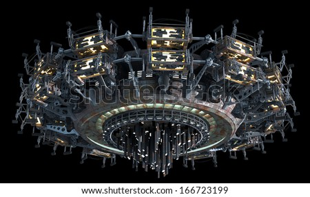 Fantasy 3D model of futuristic space ship for sci-fi backgrounds of interstellar deep space travel. Clipping path included in the .jpg file.