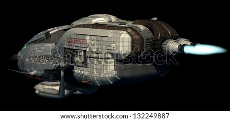 Fantasy 3D model of futuristic space ship in interstellar deep space travel for sci-fi backgrounds, with clipping path in the jpg file