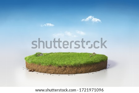 Fantasy 3D rendering circle podium grass field, paradise 3D Illustration round soil mockup cross section isolated on blue sunny afternoon