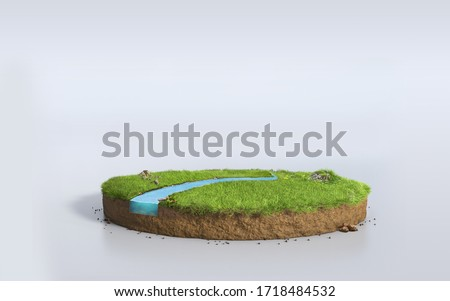 Fantasy 3D rendering circle podium grass field with river, surreal 3D Illustration round soil cutaway cross section isolated on white background