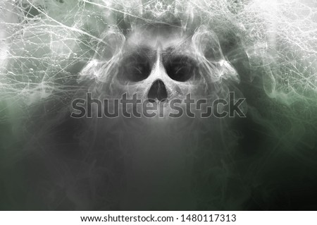 Fantasy 3d rendering of a submerged skull