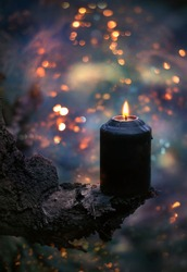 Fantasy dark Halloween Background. mysterious forest with witchcraft fire. black candle, Halloween magic. copy space