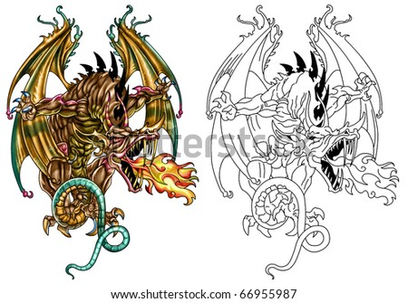 Fantasy Dragon in color and line art