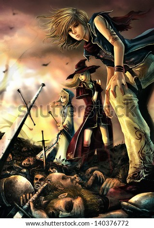Stock Photo Fantasy drawing: Three great wizards are standing on the pile of corpse