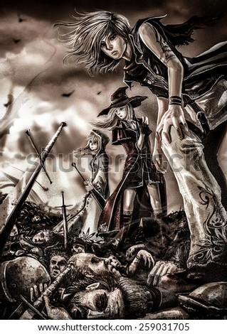 Stock Photo Fantasy drawing: Three great wizards are standing on the pile of corpse in grain-grunge style