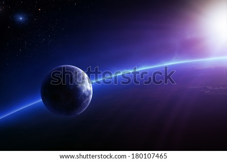 Fantasy Earth and Moon in colourful space with sunrise (Elements of this 3d image furnished by NASA -  texture maps from http://visibleearth.nasa.gov/)
