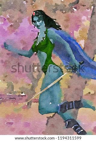 Stock Photo fantasy elf warrior watercolour art