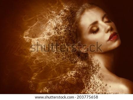 Fantasy. Enigmatic Woman with Golden Painted Skin. Metallic Splash