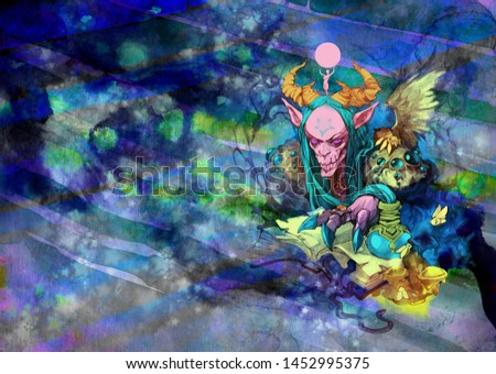 Fantasy esoteric portrait illustration of a weird and sinister skeleton creature from Halloween characters on an abstract surreal backdrop