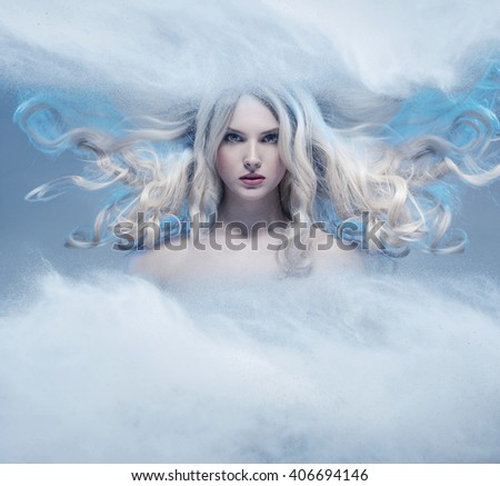 Fantasy expressive portrait of a blonde beauty