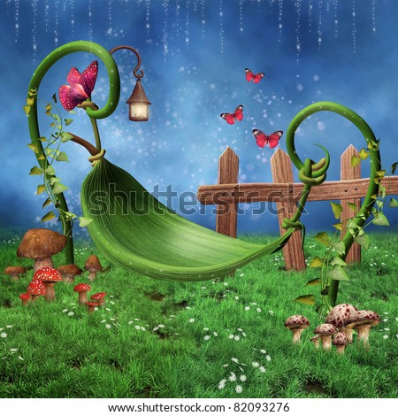 Fantasy fairy meadow with a leaf hammock