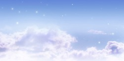 Fantasy fairy tale banner background of fabulous morning dawning blue cloudy sky with shining stars and mysterious clouds, clear air, tranquil idyllic harmonious beautiful environment scene