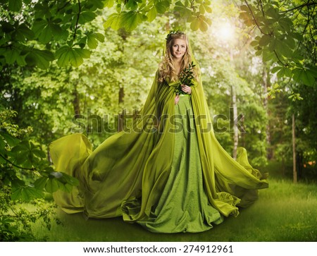 Fantasy Fairy Tale Forest, Fairytale Nature Goddess, Nymph Woman in Mysterious Green Dress