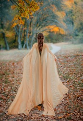 Fantasy fairy woman with long hair in a medieval dress with cape. Long-haired red-haired elf girl walk away into the distance through the misty autumn forest. Rear view. Art processing yellow trees