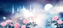 Fantasy fairytale photo background of beautiful fairy pink rose flower garden and butterflies, magical castle in blue night sky, shining stars and glowing moon. Idyllic tranquil fabulous mystic scene.