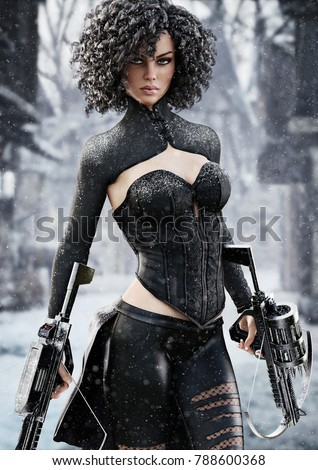 Stock Photo Fantasy female hunter holding duel crossbows tracking her target through snow. 3d rendering