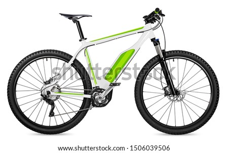 fantasy fictitious design of an ebike pedelec with battery powered motor bicycle moutainbike. mountain bike ecology modern transport concept isolated on white background stock photo