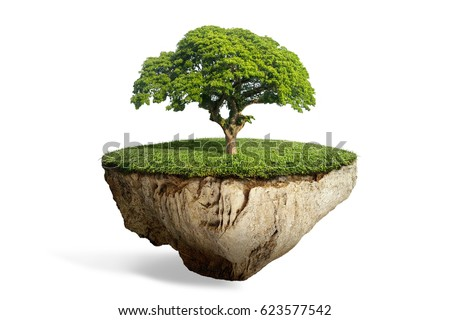 fantasy floating island with natural lonely tree on the rock, surreal float landscape with paradise concept