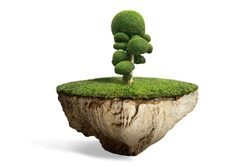 fantasy floating island with natural mushroom shaped plant on the rock, surreal float landscape with cartoon tree paradise concept