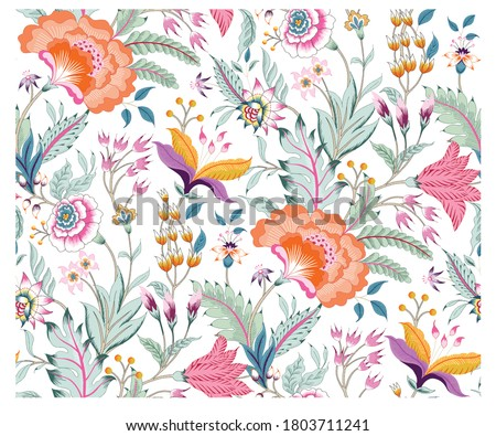 Fantasy floral seamless pattern in Jacobean embroidery style, vintage, old, retro style.  Photo stock ©