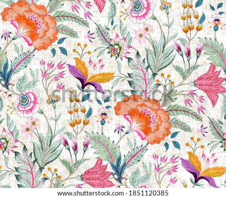 Fantasy floral with distress look seamless pattern in Jacobean print style, vintage, old, retro style. Photo stock ©