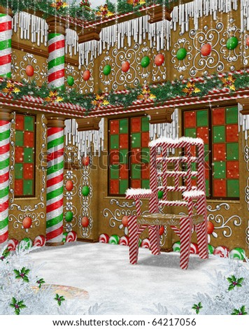 Fantasy Gingerbread Manor With Christmas Decorations Stock Photo