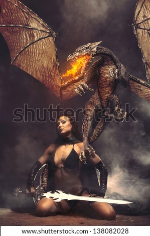 Stock Photo Fantasy Girl with Dragon Fire