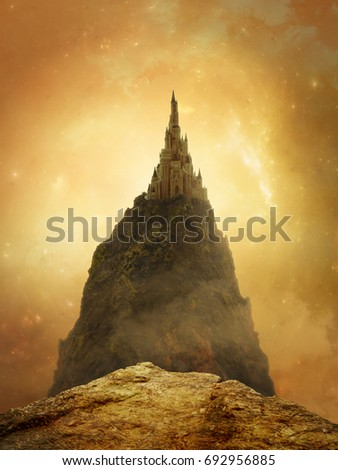 Fantasy golden castle in the mountain with beautiful sky. 3D rendering.
