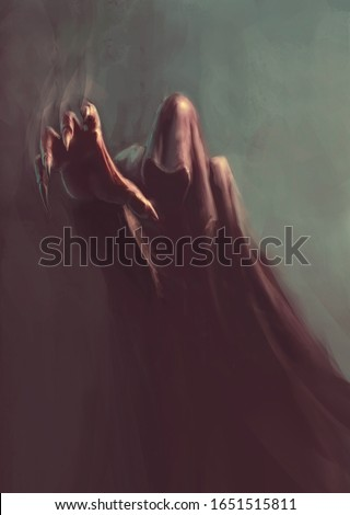 fantasy hooded demon in the dark,  with reaching hand - painting, fictional character