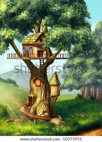 Fantasy house built on a tree. Original digital illustration. - stock photo