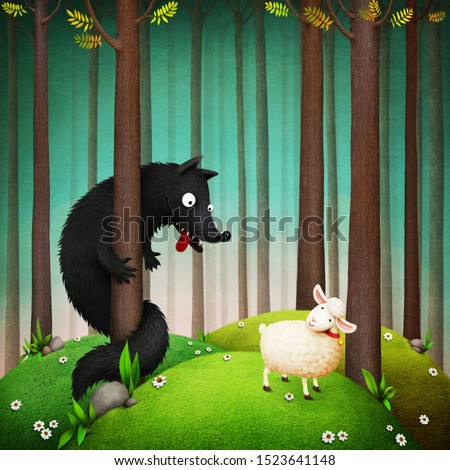 Fantasy illustration for the fairy tale Wolf and Sheep