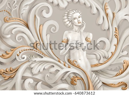 Stock Photo Fantasy illustration of a beautiful young woman.Stylization for sculpture with gold ornaments.
