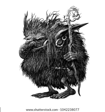 Fantasy illustration of a fairy forest character. Troll Goblin in the skin with long hair, horns and a magic staff in his hands