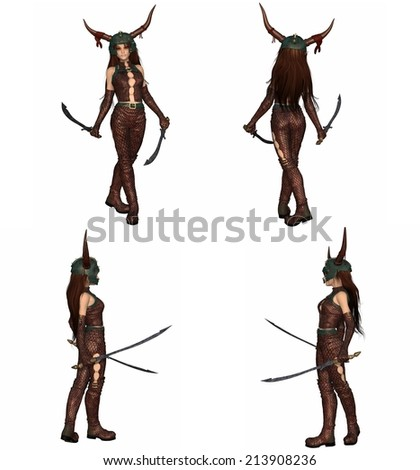Stock Photo Fantasy illustration of a red-haired warrior elf girl wearing bronze dragon scale armour and helmet and holding two swords, set of four character views, 3d digitally rendered illustration