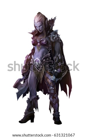 Stock Photo Fantasy illustration of dark elf beautiful woman warrior wearing a hood isolated on white