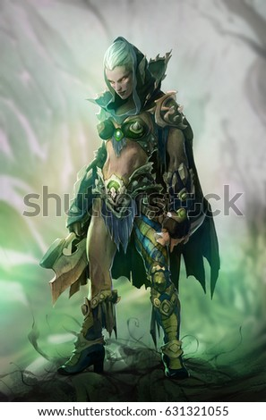 Stock Photo Fantasy illustration of dark elf beautiful woman warrior wearing green hood and an axe as a weapon