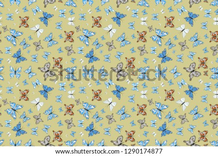 Fantasy illustration. Raster illustration. Illustration in beige, blue and white colors. Fashion cute fabric design. Beautiful fashion pattern with butterflies.
