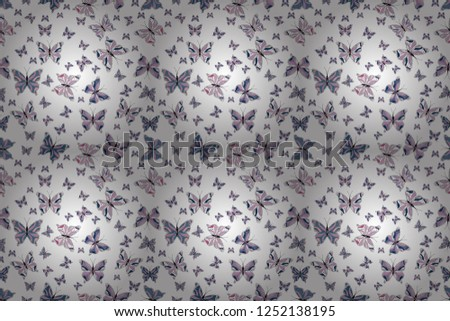 Fantasy illustration. Raster illustration. Illustration in white, neutral and blue colors. Beautiful fashion pattern with butterflies. Fashion cute fabric design.