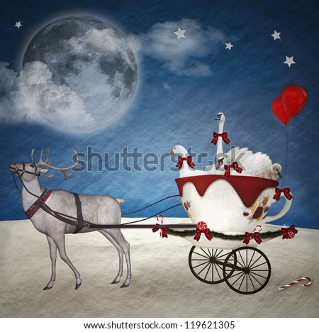 Fantasy illustration with christmas sleigh and pets into a cup