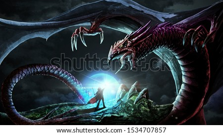 Fantasy Image. Mortal Fight between Mighty Wizard and Huge Terrifying Dragon, Spreading Its Wings over Tiny Human. Magic and Spells against Dark Primeval Power.