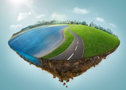 Fantasy island floating in the air with city skyline, green field, lake, mountain and curvy asphalt highway .